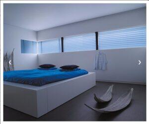 Plissé en Duette® shades van BD Line® blew - blauw slaapkamer